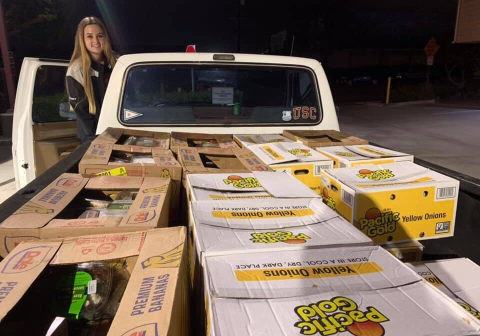 boxes of food in back of a truck